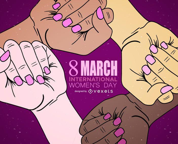 Dia Internacional da Mulher mãos ilustração