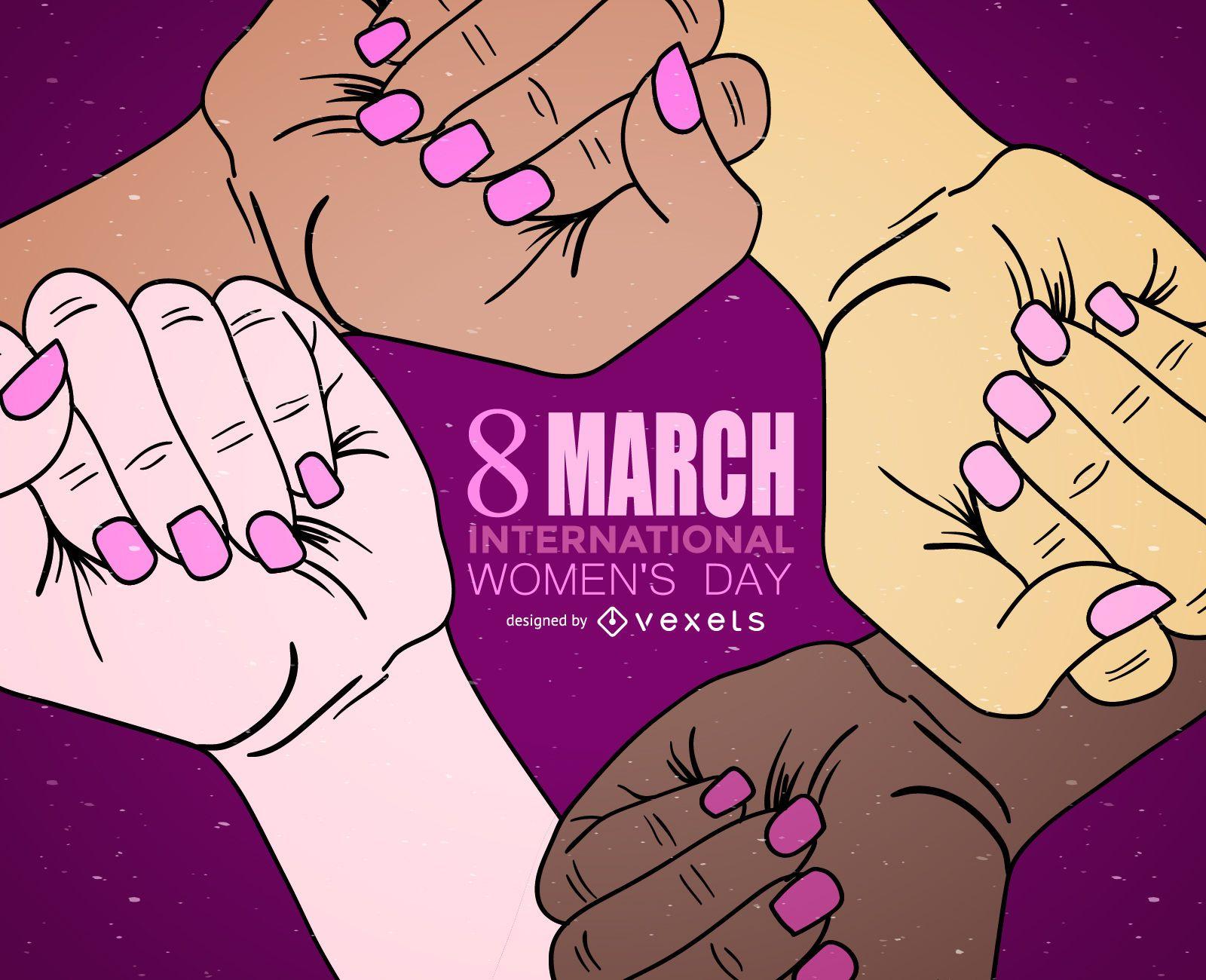 Ilustra??o de m?os do Dia Internacional da Mulher
