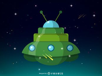 Green spaceship illustration design