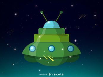 Grünes Raumschiffillustrationsdesign