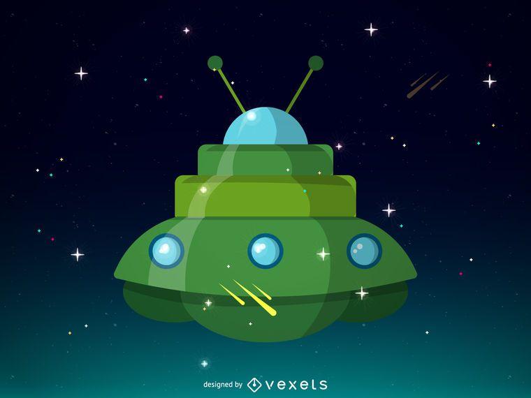 Projeto de ilustração da nave espacial verde
