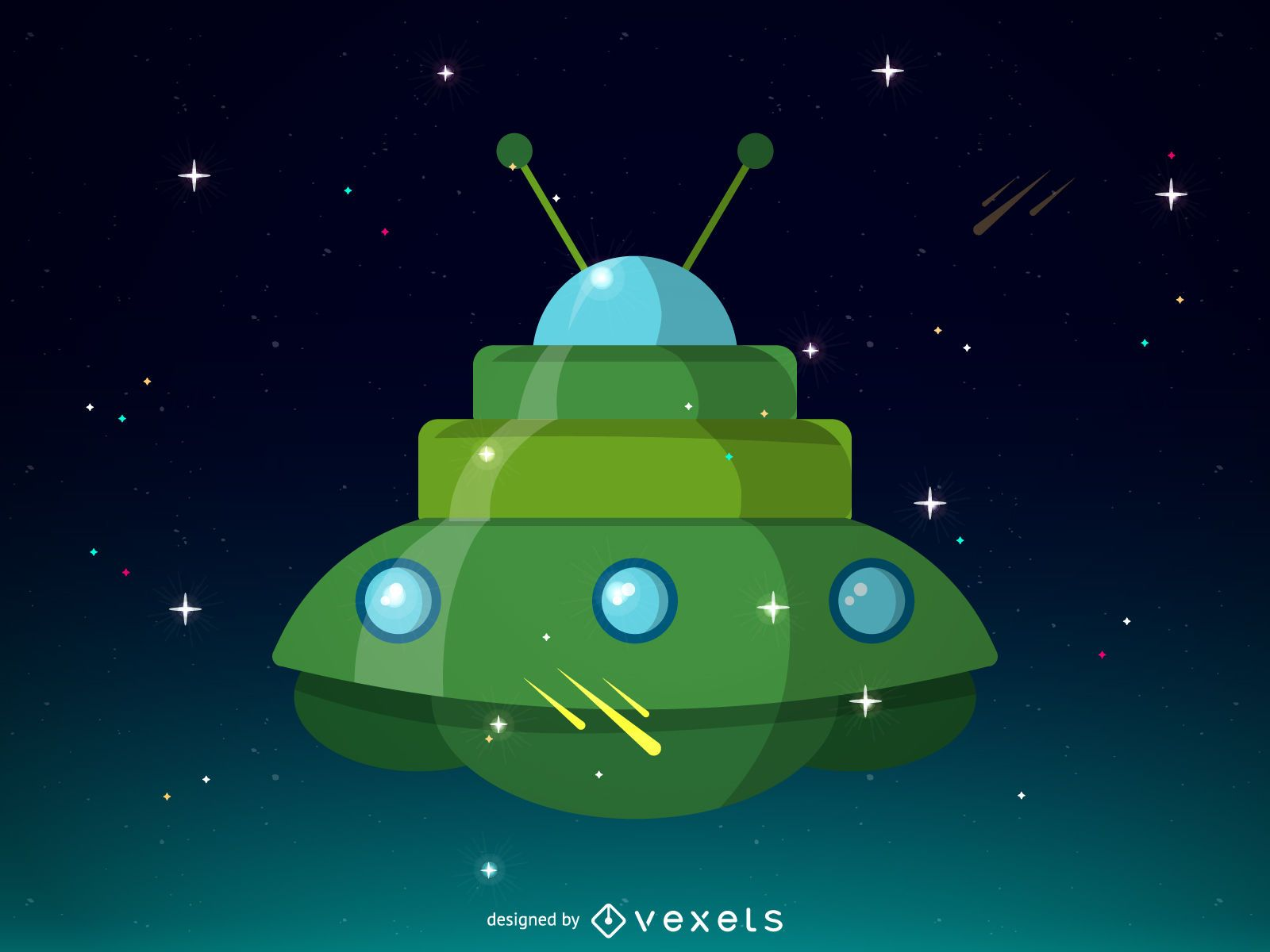Grünes Raumschiff-Illustrationsdesign