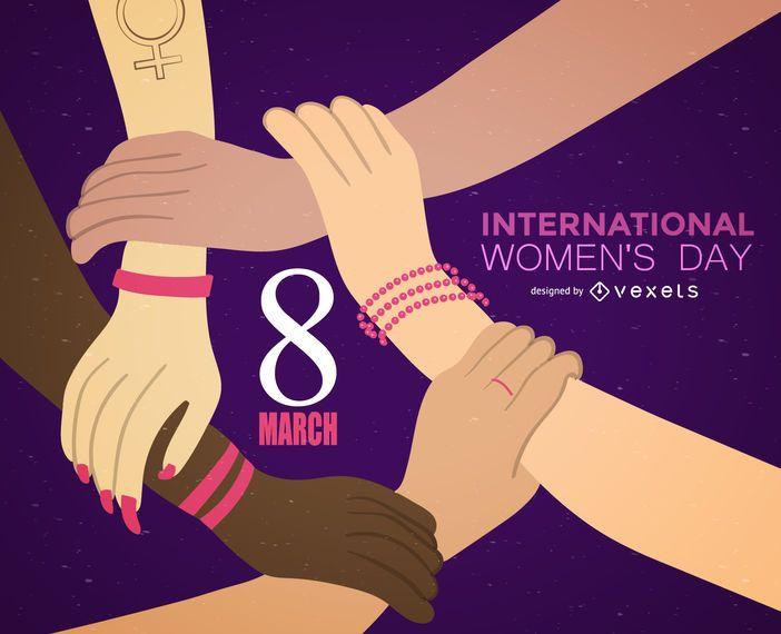 8 de março Ilustração do Dia Internacional da Mulher