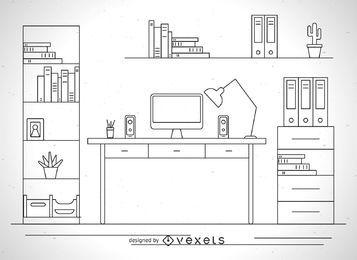 Desk illustration outline