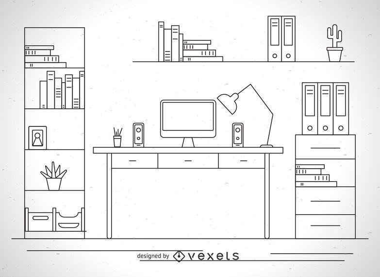 Schreibtisch Illustration Gliederung