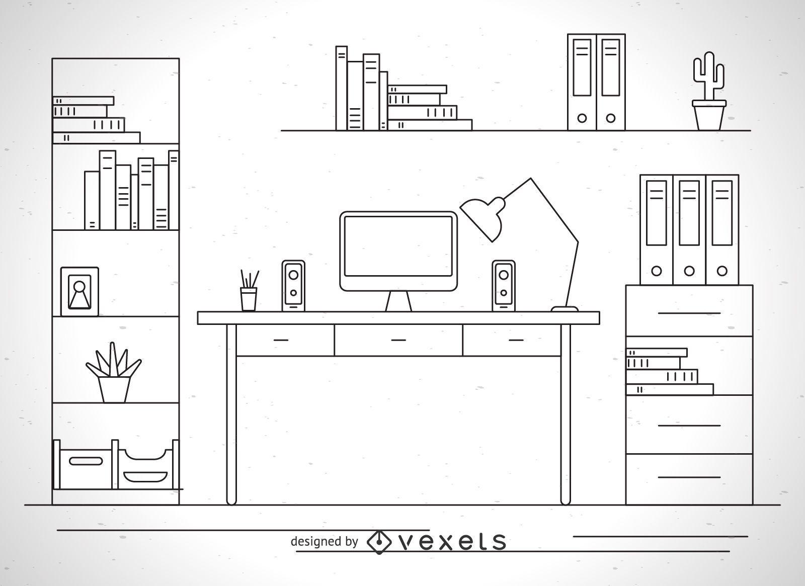 Esquema de ilustración de escritorio