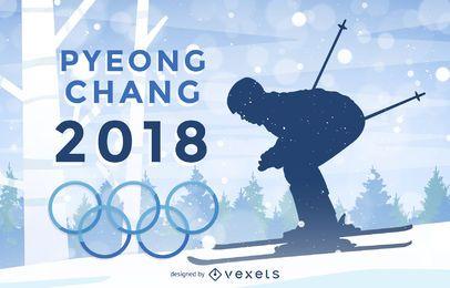 Plakat der Winterolympiade 2018 in Pyeongchang