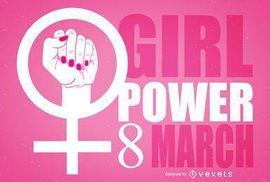 Ilustração do símbolo feminista do dia das mulheres