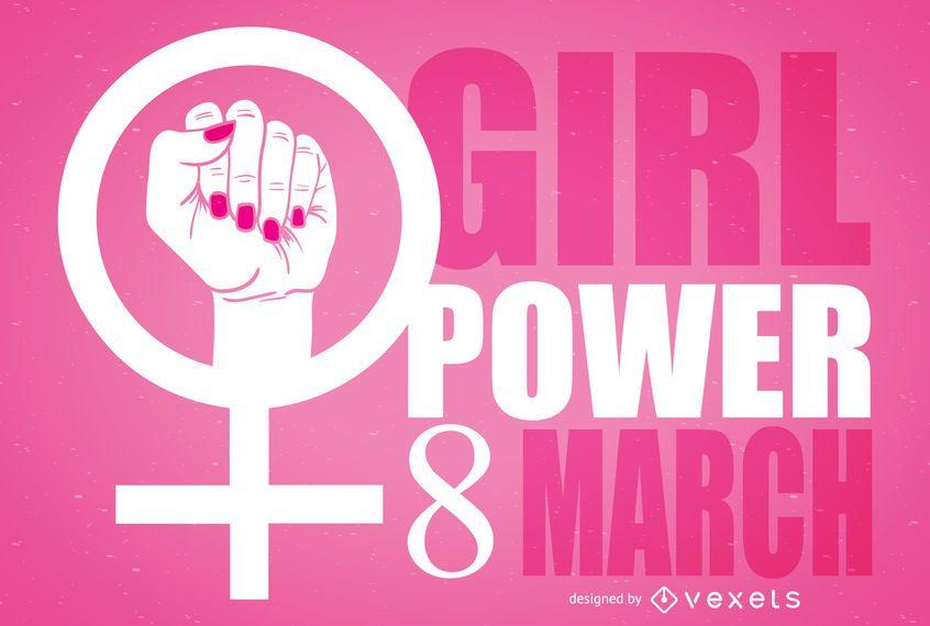 Ilustración del símbolo feminista del día de la mujer