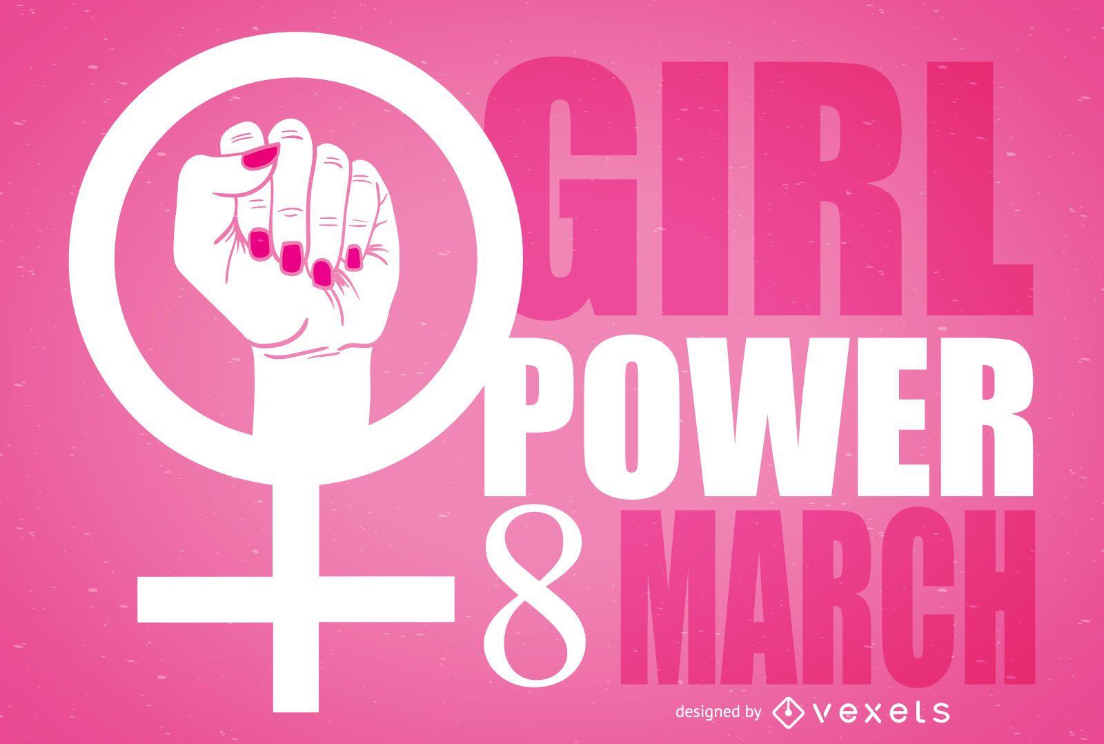 Ilustración de símbolo feminista del día de la mujer
