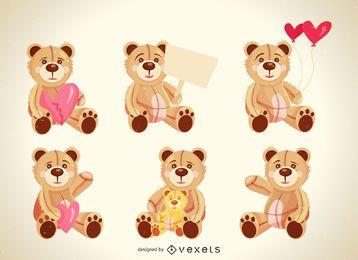 Conjunto de ilustraciones de oso de peluche