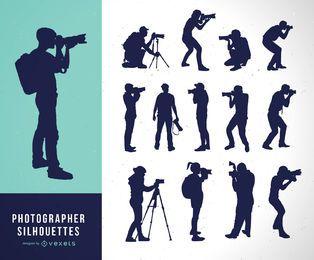 Coleção de silhuetas de fotógrafo