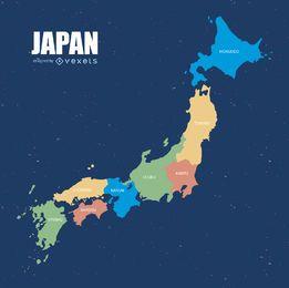 Mapa colorido do Japão