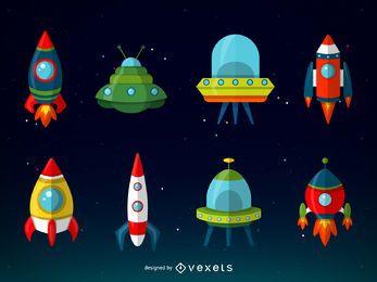 Colección de ilustraciones de naves espaciales.