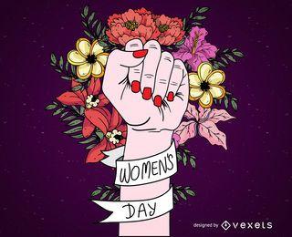 Cartel del día de la mujer con flores y cinta.