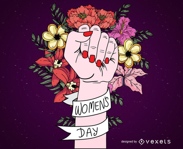 Women's Day sign with flowers and ribbon