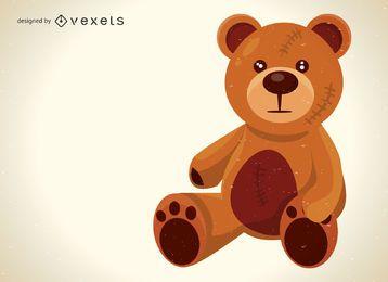 Ilustración linda del oso de peluche