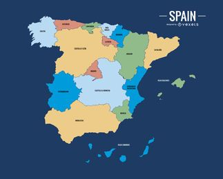 Colorful Spain map