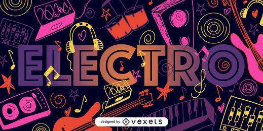Cartel ilustrado de música electro.