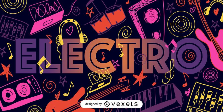 Cartaz ilustrado de música electro