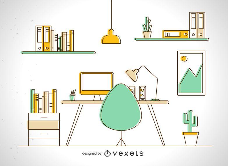 Desk illustration in colorful stroke