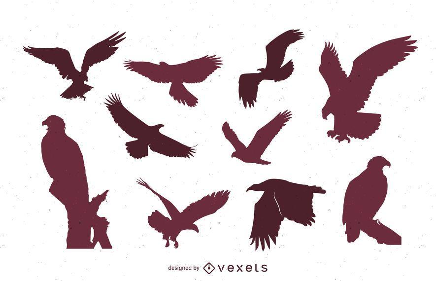 Conjunto de siluetas de águila.