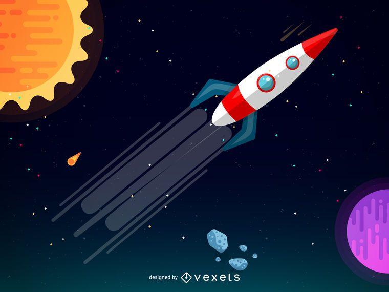 Foguete em uma ilustração da galáxia