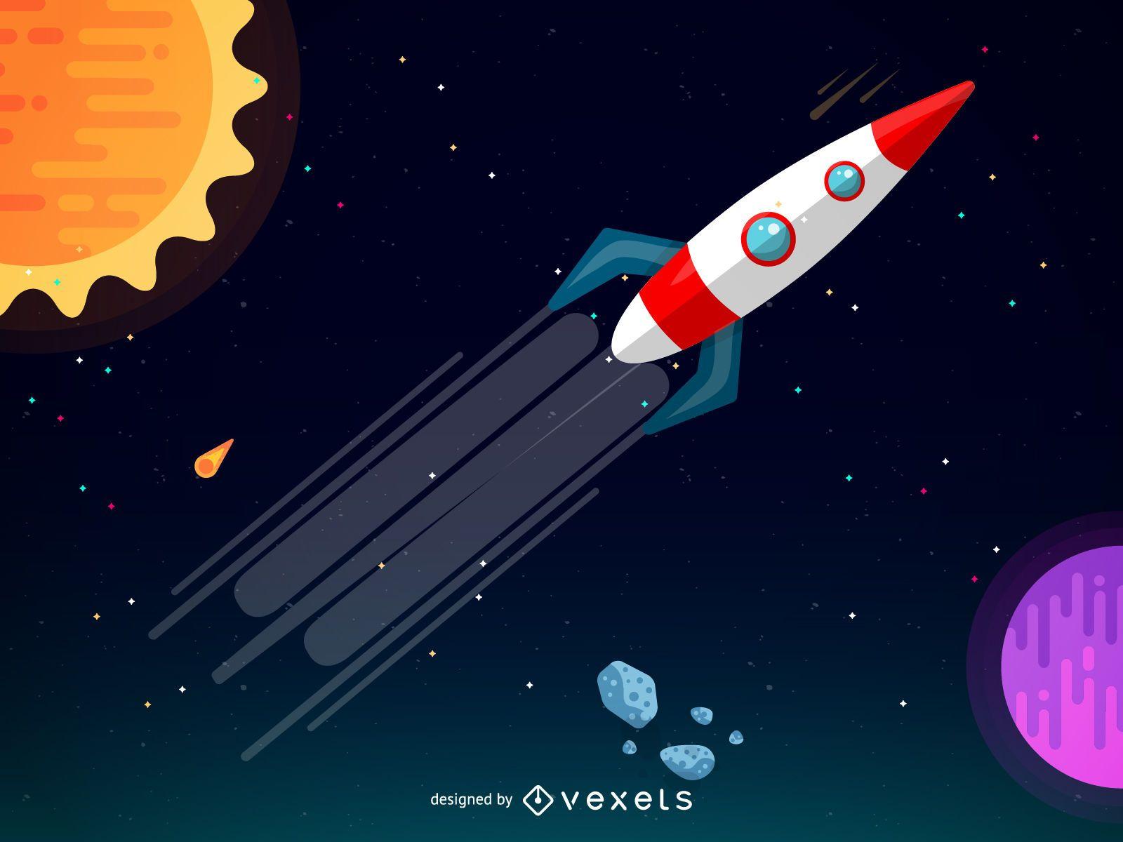 Cohete en una ilustración de galaxia