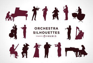 Conjunto de silhuetas de orquestra