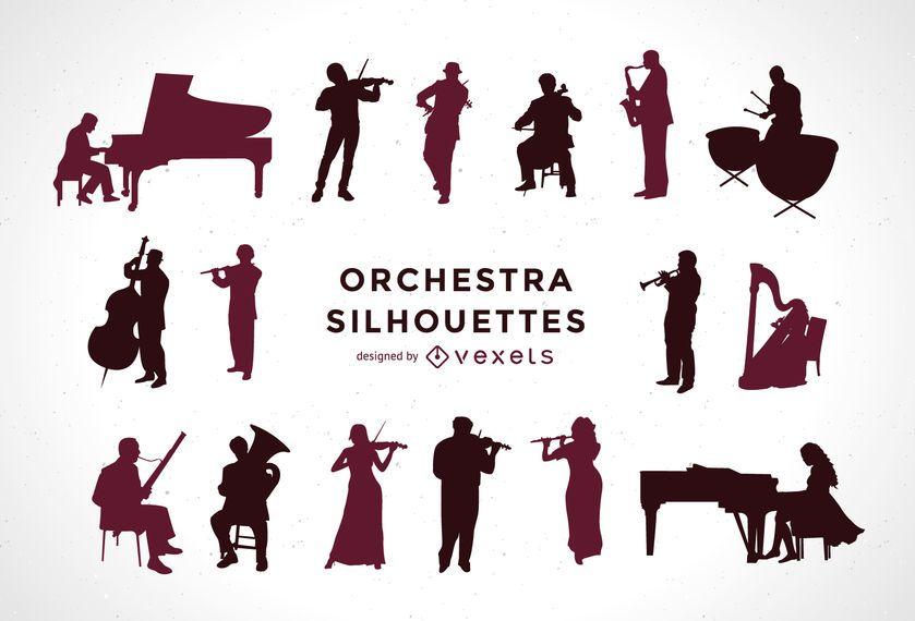 Conjunto de siluetas de orquesta.