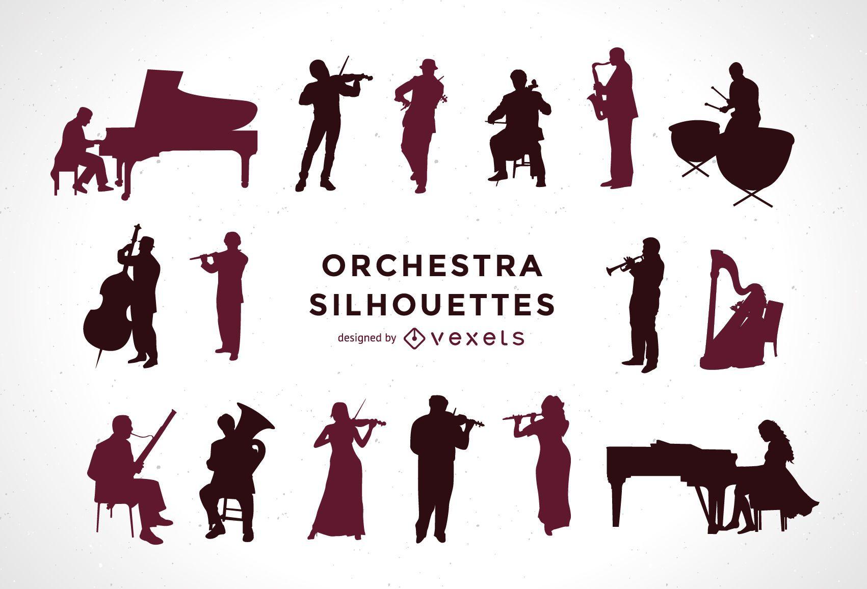 Conjunto de siluetas de orquesta