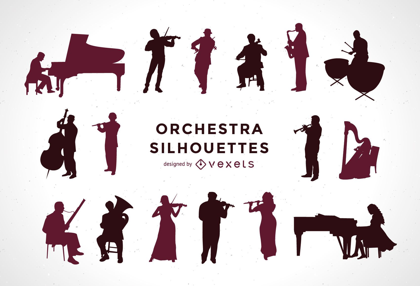 Set of orchestra silhouettes