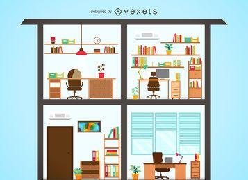 Casa, ilustração, com, escritórios