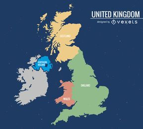 United Kingdom map silhouette