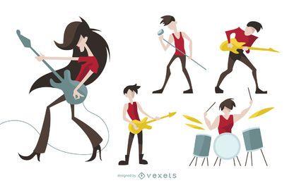 Conjunto de desenhos animados de personagens de rock