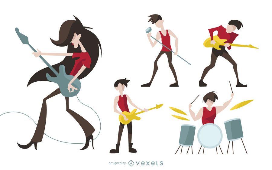 Rock-Zeichen-Cartoon-Set