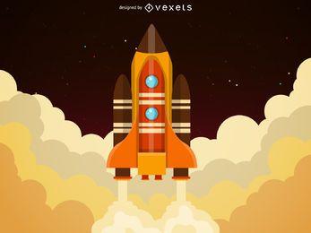 Ilustração do lançamento do grande foguete