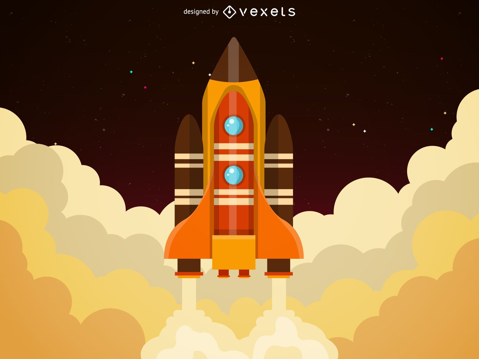 Ilustración de lanzamiento de cohete grande