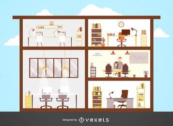 Ilustração plana do prédio de escritórios