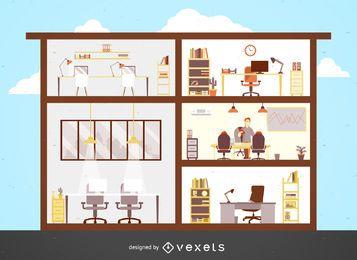 Ilustración de edificio de oficinas plana