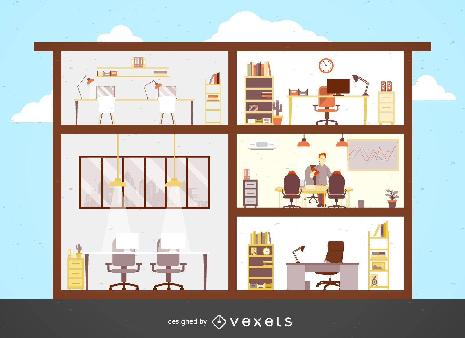 Ilustración de edificio de oficinas plano