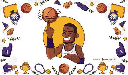 Ilustração e quadro do jogador de basquete
