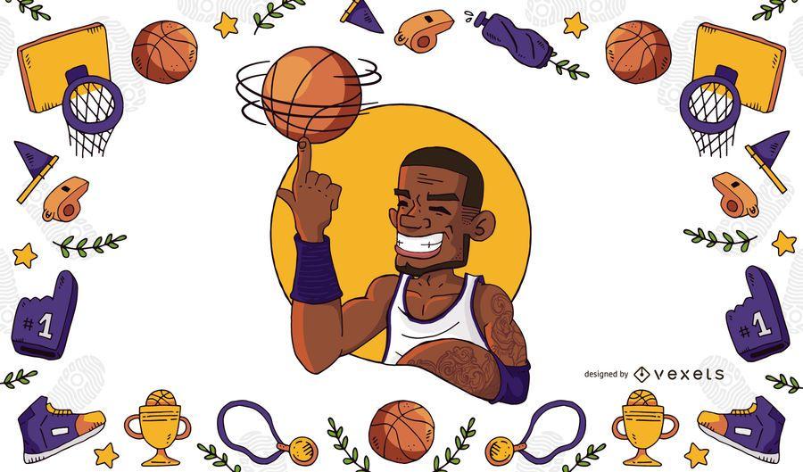 Jogador basquetebol, ilustração, e, quadro