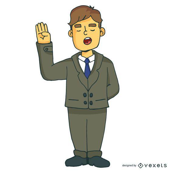 Homem negócios, caricatura, ilustração