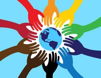 Vereinigte Welt mit Händen