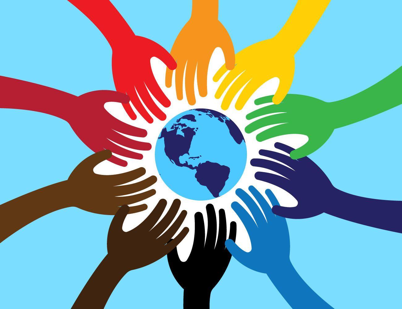Mundo unido com as mãos