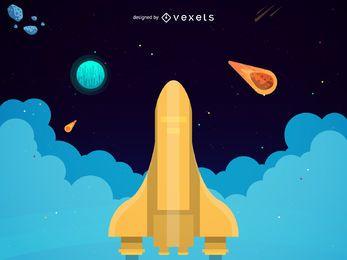 Ilustração de lançamento de foguete dourado