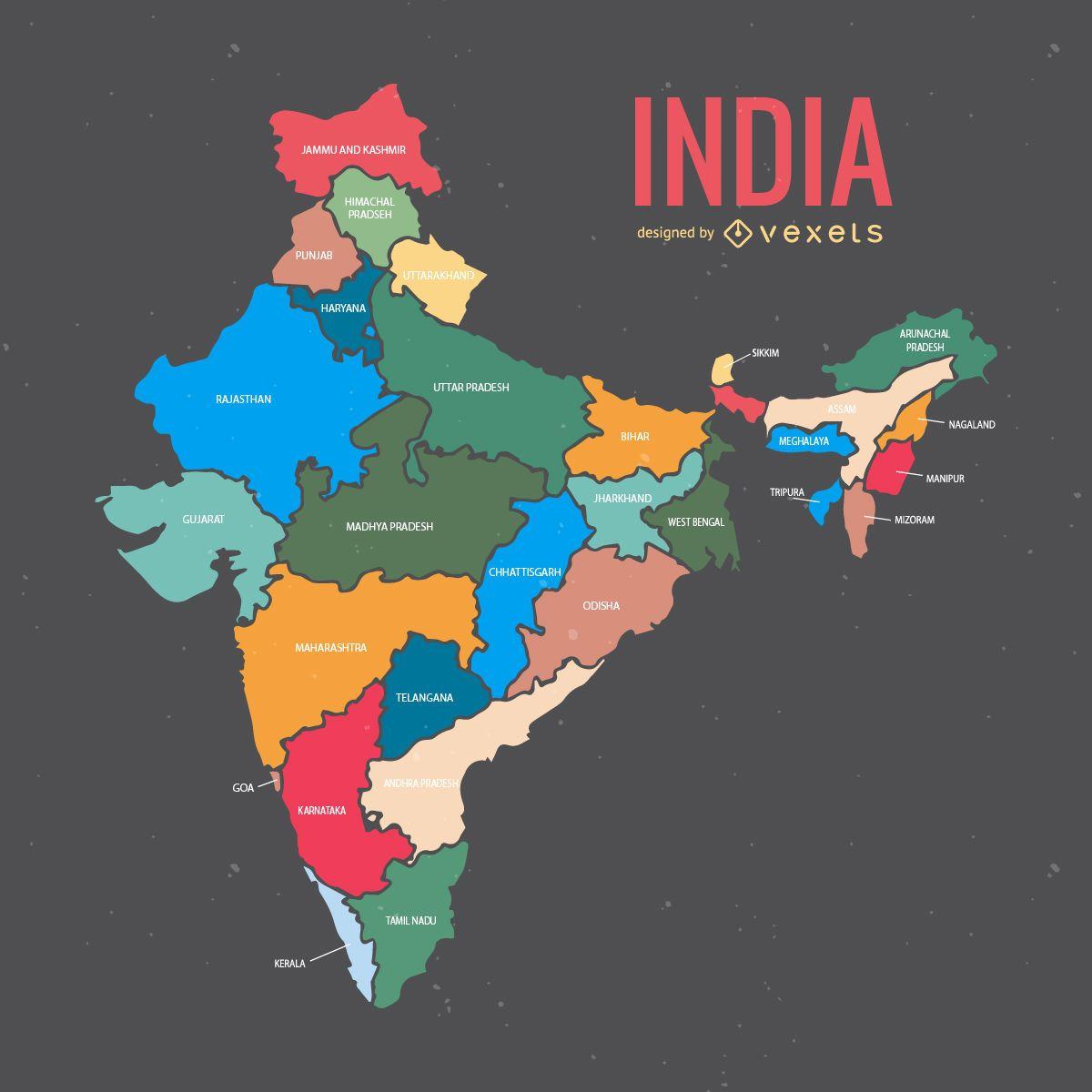 Indien Karte mit Staaten