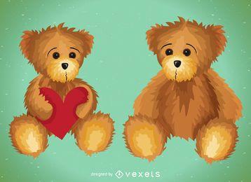 Conjunto de ilustração de urso de pelúcia