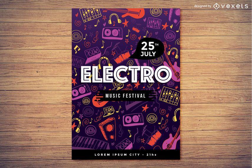 Diseño de cartel de fiesta electro musical.